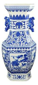 21 Classic Blue And White Hexagonal Porcelain Vase Figure Dragon Ears Ceram