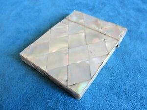 Antique Victorian Quilted Diamond Mosaic Mother Of Pearl Calling Card Case Box