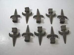 10 Vtg Cast Iron Architectural Salvage Fence Post Cap Finial Spear Fleur De Lis