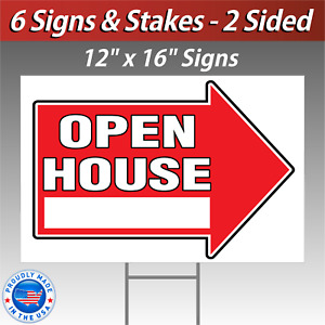6x 12x16 Open House Directional Signs Corrugated Free Stakes 6 Pack Red