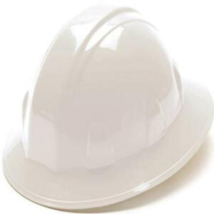 Full Brim Hard Hat Construction Safety Work Helmet Ratchet Suspension White
