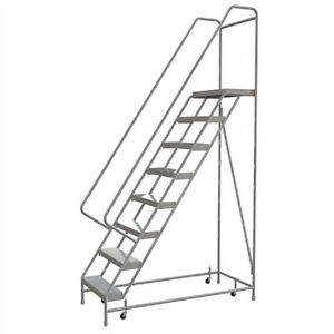 New 8 Step Alum Rolling Ladder 24 w Ribbed Tread 28 d Top Step 32 Handrails