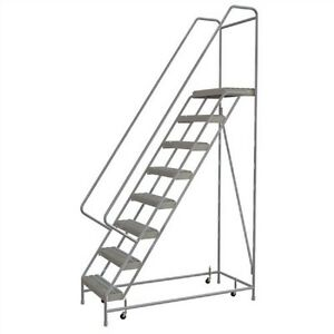 New 8 Step Alum Rolling Ladder 24 w Grip Tread 28 d Top Step 32 Handrails