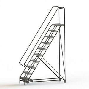 New 10 Step Alum Rolling Ladder 24 w Ribbed Tread 21 d Top Step 32 Handrails