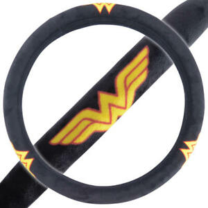 Wonder Woman Car Steering Wheel Cover Black yellow Smooth And Soft Velour