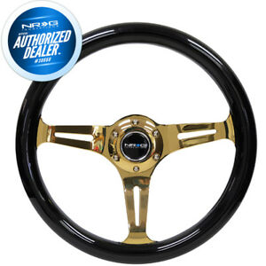 New Nrg Classic Black Wood Steering Wheel 350mm Chrome Gold Spokes St 015cg Bk