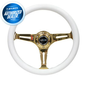 New Nrg Steering Wheel Classic Wood 350mm White Chrome Gold 3 Spoke St 015cg wt