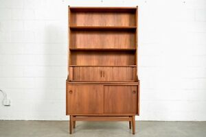 Mid Century Bookshelf Desk Danish Johannes Sorth Tall Bookcase Secretary Vintage