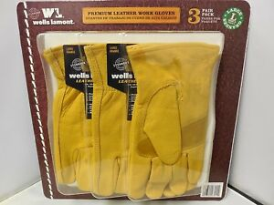Leather Work Gloves 3 Pair Pack Large Premium Safety Hands Protection Equipment