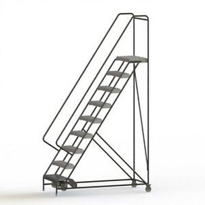New 9 Step Alum Rolling Ladder 24 w Grip Tread 21 d Top Step 32 Handrails