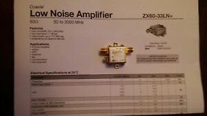 Low Noise Amplifier Zx 33ln Nf 1 1db 50 3000mhz Mini circuits