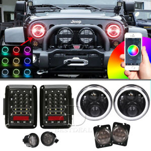 7 Rgb Halo Headlight turn Signal Fender Side Marker tail Lamp Kit For Jeep Jk