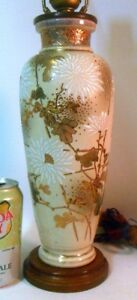 Superb Antique Japan Satsuma Vase As Lamp Meiji Chrysanthemums Gilt Moriage