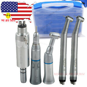 High Speed Low Speed Dental Handpiece 4 Hole Push Button Kit Fit Nsk carry Case