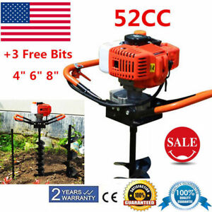 52cc Gas Powered Post Hole Digger 4 6 8 Bit Drill Earth Auger Power Engine