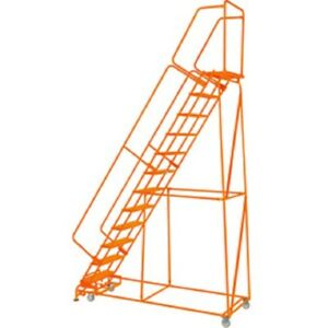 New Perforated 24 w 12 Step Steel Rolling Ladder 21 d Top Step W handrails