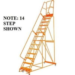 New Perforated 24 w 13 Step Steel Rolling Ladder 14 d Top Step W handrail