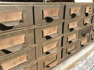 Vintage Lyon Industrial Heavy Metal 24 Drawer File Storage Cabinet Very Good
