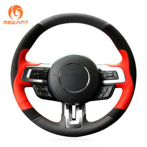 Black Suede Red Leather Steering Wheel Cover Wrap For Ford Mustang Gt 2015 2019