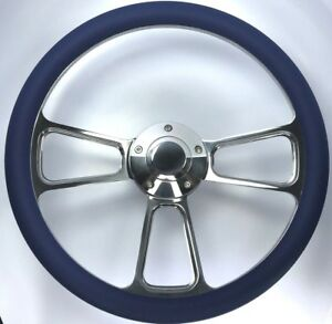 14 Polished Billet 5 Hole Steering Wheel royal Blue Half Wrap And Horn Button