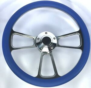 14 Polished Billet Steering Wheel Sky Blue Half Wrap And Horn Button