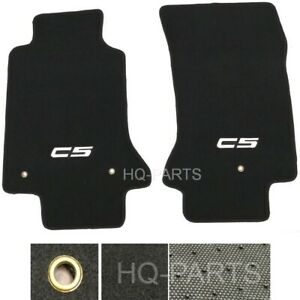 Stitched Logo Black Nylon Carpet Floor Mats Fit For Chevy Corvette C5 1997 2004