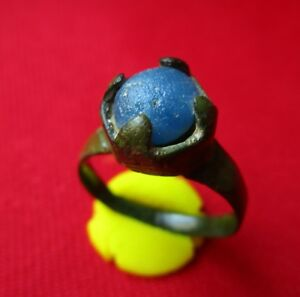 Blue Glass Stone Museum Quality Ancient Roman Bronze Ring Amazing