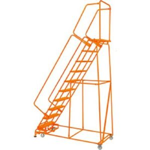 New Perforated 24 w 10 Step Steel Rolling Ladder 14 d Top Step W handrails