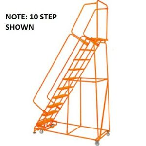 New Perforated 24 w 9 Step Steel Rolling Ladder 14 d Top Step W handrails