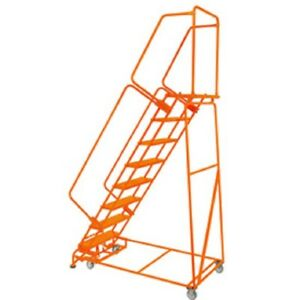 New Perforated 24 w 8 Step Steel Rolling Ladder 21 d Top Step W handrails