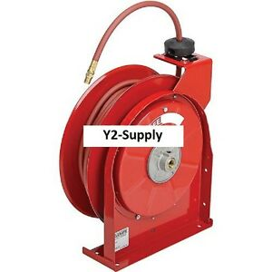 New 3 8 X 50 Air water Hose Reel Retractable W hose All Steel Compact 300psi
