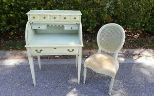 Vintage Jasper Cabinet Ladies Childs Roll Top Desk And Chair
