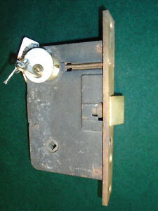 Vintage Push Button Brass Entry Mortise Lock W Key 8 Faceplate 7529