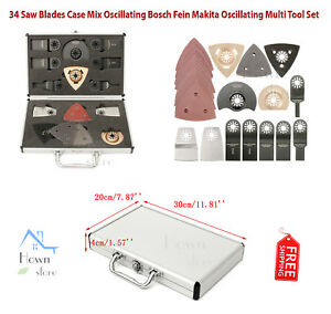 34 Saw Blades Case Mix Oscillating Multi Tool Set High carbon Steel Bi metal