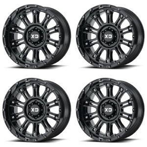 Set 4 17 Xd Series Xd829 Hoss 2 Black Wheels 17x9 6x5 5 18mm Chevy Gmc 6 Lug