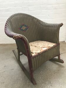 Vintage Brown Burgandy Children S Wicker Rocking Chair 200