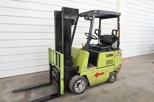 Clark Gcs17 3500 Cushion Tire Forklift 2 Stage Mast Side Shift Runs Good
