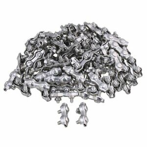 100pieces Stainless Steel M2 Duplex 2 post Wire Rope Clip Cable Clamp Buckle