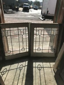 Sg 2201 Match Pair Antique Leaded Glass Windows 20 W By 23 25 Hi