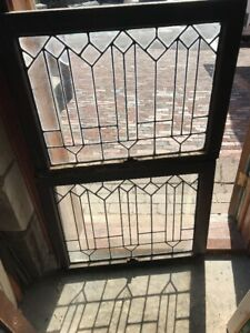 Sg 2202 Match Pair Antique Leaded Glass Windows 30 5 X 23 5