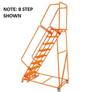 New Perforated 16 w 7 Step Steel Rolling Ladder 14 d Top Step W Handrails