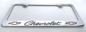 Chrome Classic Chevrolet Script Bowtie Emblem Engraved Metal License Plate Frame