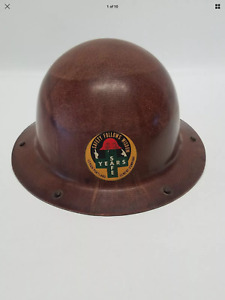 Vintage Msa Fiberglass Full Brim Lehigh Portland Cement Co With Leather Liner