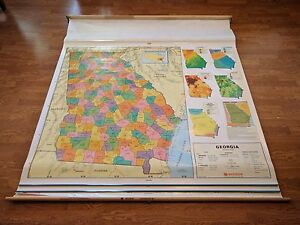 Used Nystrom Georgia United States Us And World 3 Layer Markable Pull Down Map