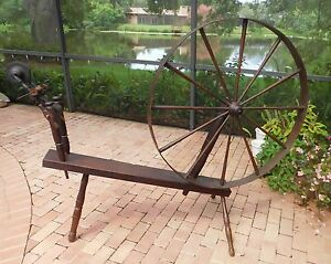Antique Working Condition 42 Walking Wooden Spinning Wheel