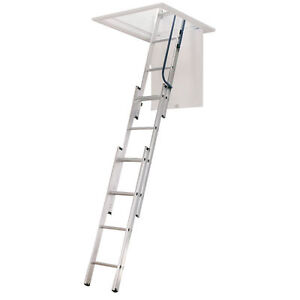 New Werner Aluminum Compact Attic Ladder 18 w X 9 10