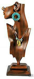 Tall Necklace And Pendant Figurine Jewelry Display Vintage Finish Mannequin 19