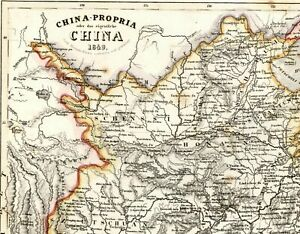 China Chinese Empire Anam Tibet Mongolia Formosa East Asia C 1850 Meyer Old Map