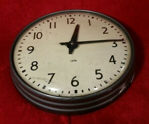 Vtg Ibm 13 Industrial School Hard Wired 24v Round Wall Clock Mid Century 565