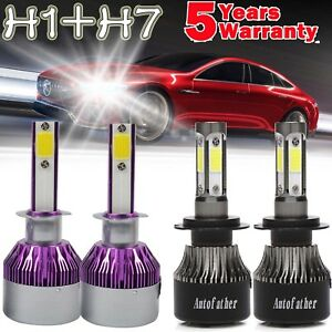 4x 980w H1 H7 Combo Car Led Headlight Bulbs Kit Hi Low Beam 6000k Super Bright